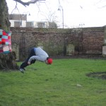 One of the young men who use the area to practise their parkour skills!